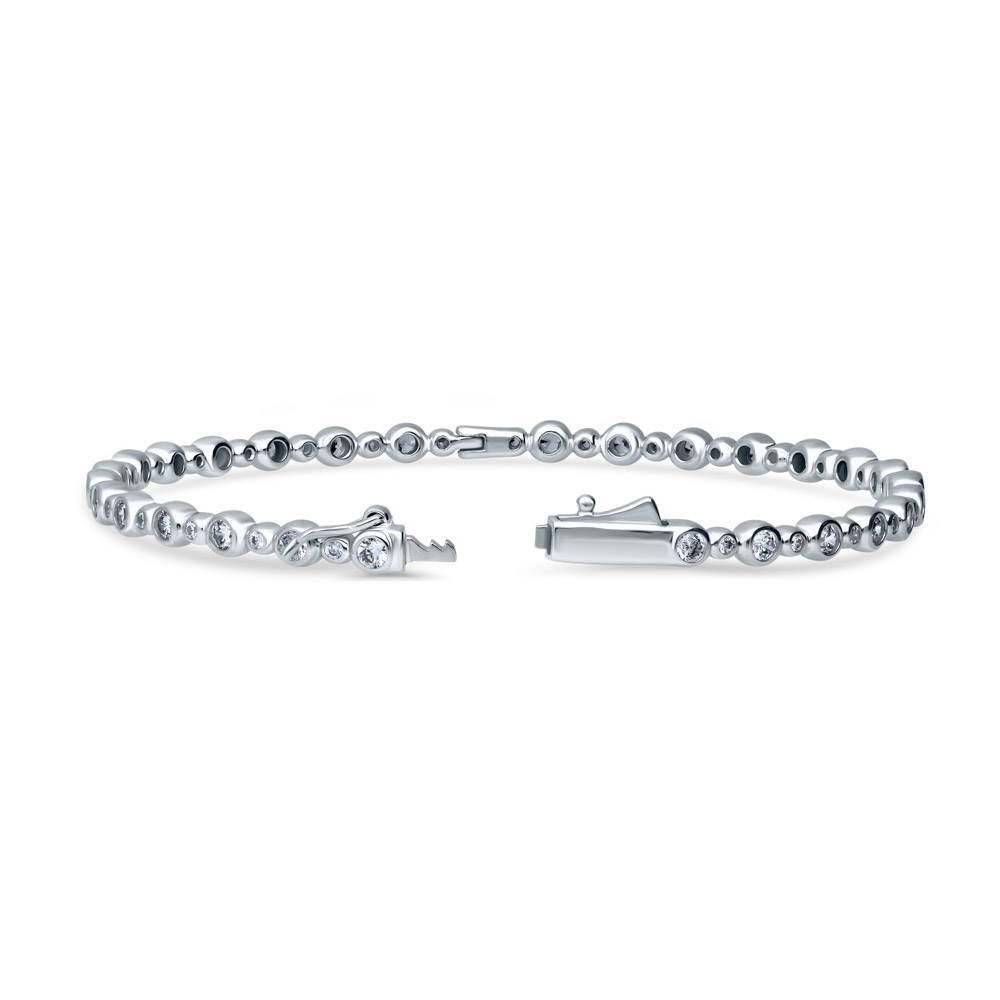 Sterling Silver CZ Bubble BANGLE