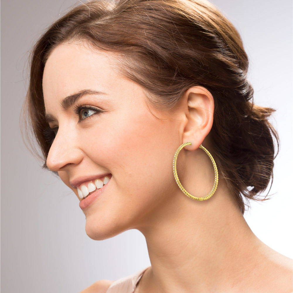 ''Gold Flashed Sterling Silver CZ Inside-Out HOOP EARRINGS 2.2''''''