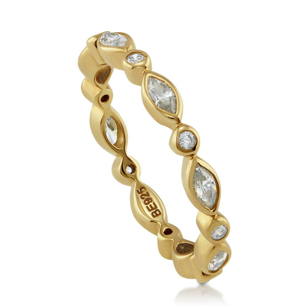 Gold Flashed Sterling Silver CZ Bubble Eternity Ring