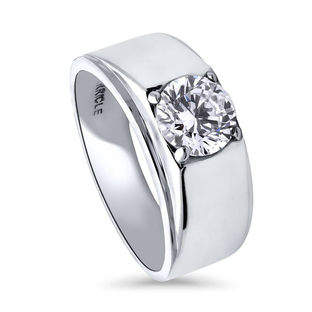 Sterling Silver Round CZ Solitaire Engagement WEDDING Band Ring 1.28 CTW