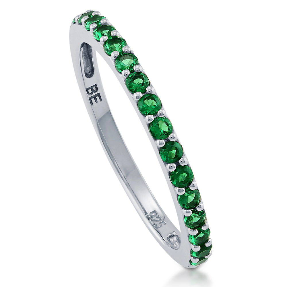 Sterling Silver Simulated Emerald CZ Half Eternity Ring